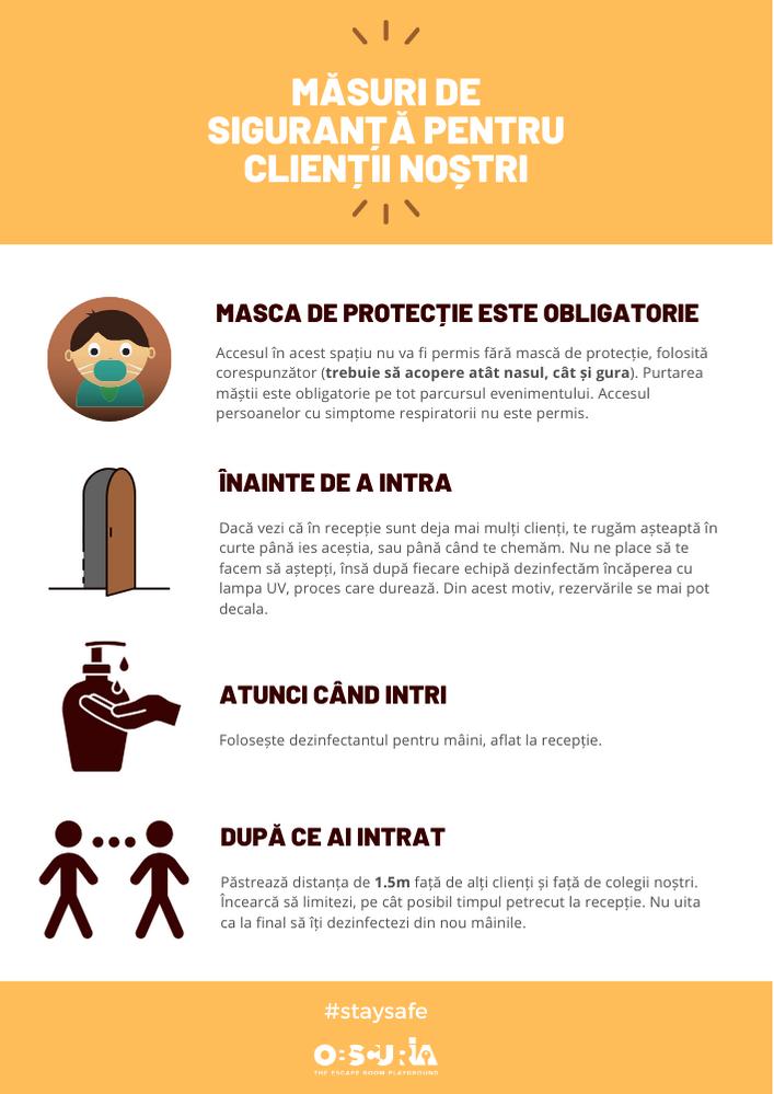 Reguli pentru participare la escape room, în condițiile pandemiei COVID-19